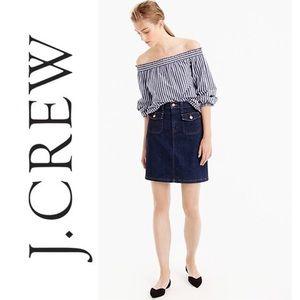 J. CREW Patch Pocket Denim Skirt Blue mini Size 26